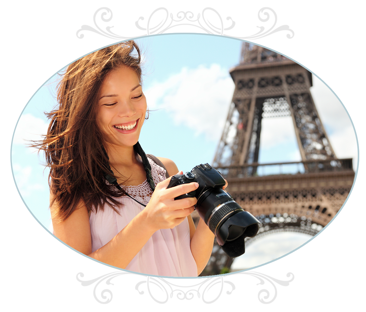 Young woman with camera in Paris