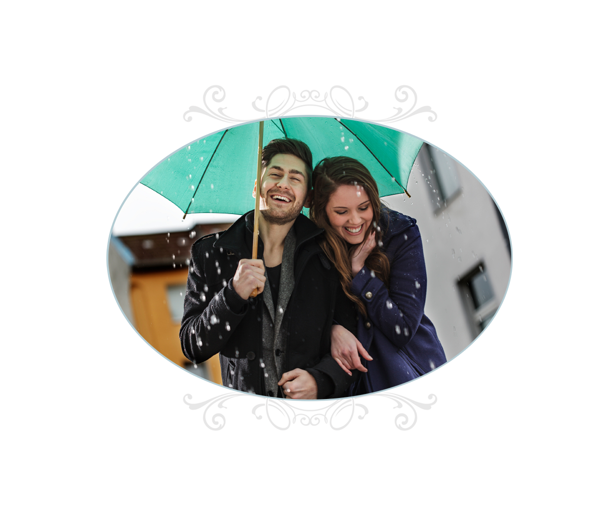 Happy couple laughing in the rain under an umbrella